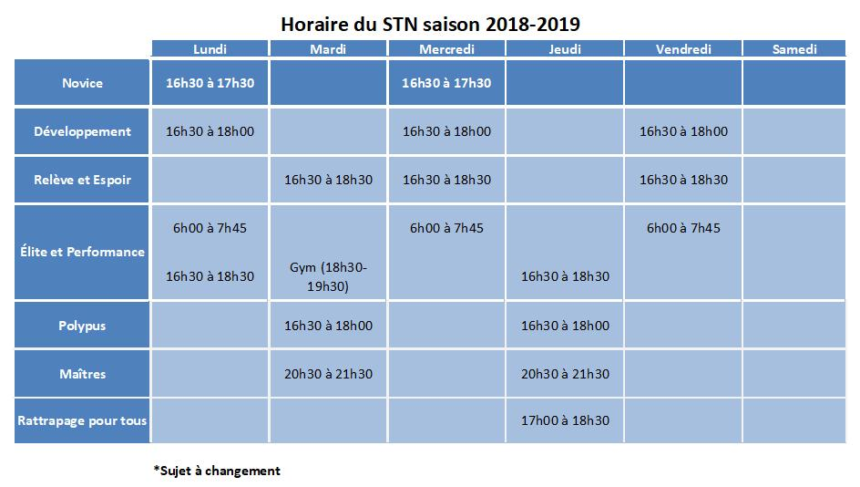 Horaire STN 2018-19