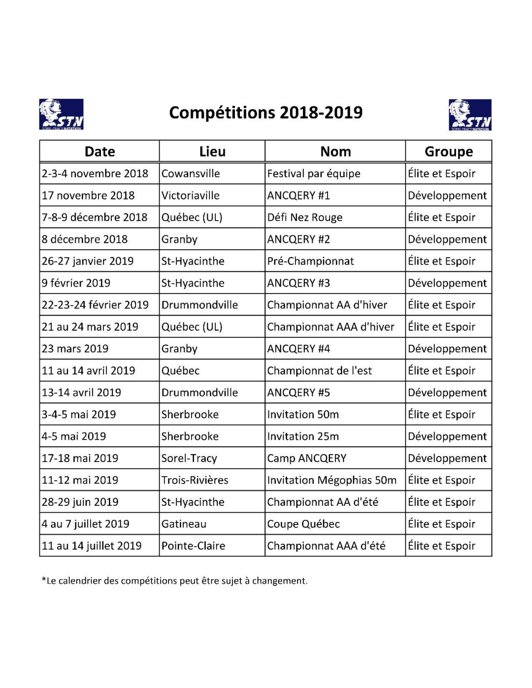 Calendrier des compétitions 2018-19
